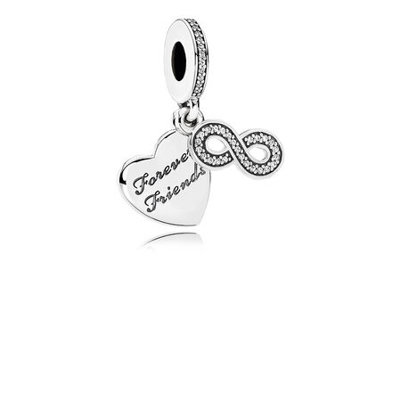 Forever Friends Dangle Charm, Clear CZ