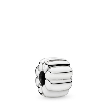 Ribbed Clip, Sterling silver - PANDORA - #790163
