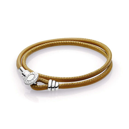 Golden Tan Double Leather Bracelet, Clear CZ