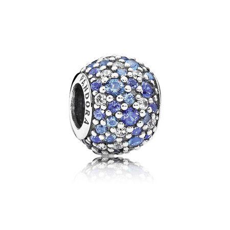 Sky Mosaic Pavé Charm, Mixed Blue Crystals & Clear CZ