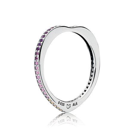 Multi-Colored Arc of Love Ring, Multi-Colored CZ