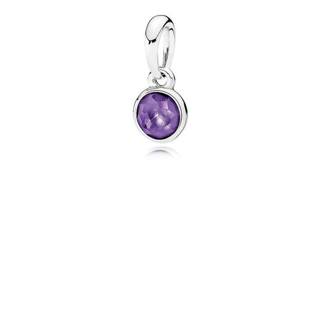 February Droplet Pendant, Synthetic Amethyst