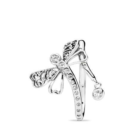 Dreamy Dragonfly Ring, Clear CZ, Sterling silver, Cubic Zirconia - PANDORA - #197093CZ