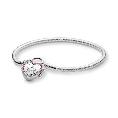Pandora Moments Heart-Shaped Padlock Clasp Snake Chain Bracelet