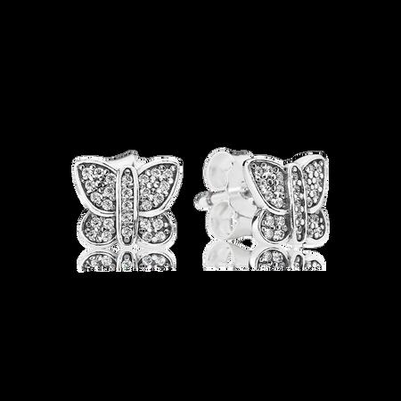 Sparkling Butterfly Stud Earrings, Clear CZ