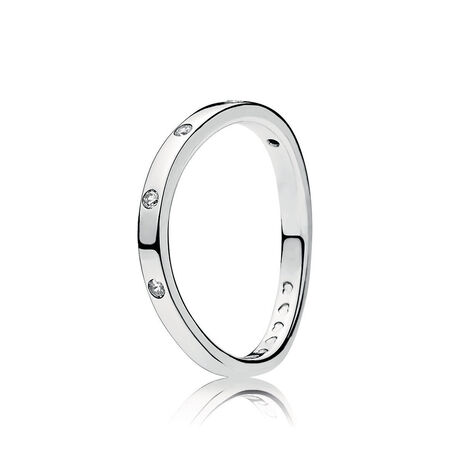 Swirling Droplets Rings, Clear CZ