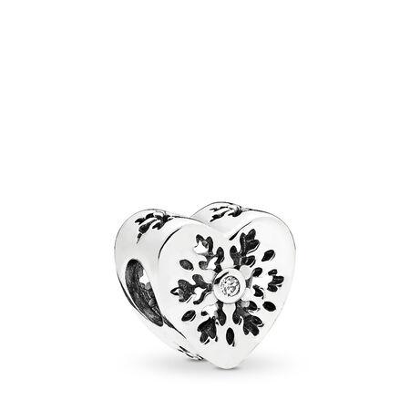 Snowflake Heart Charm, Clear CZ, Sterling silver, Cubic Zirconia - PANDORA - #796359CZ