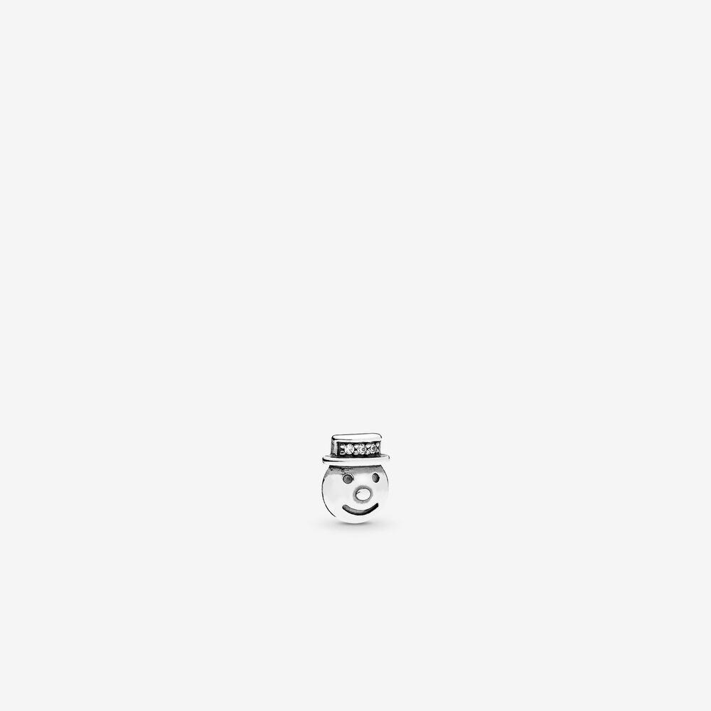 Happy Snowman Petite Locket Charm, Clear CZ