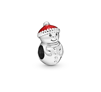 Snowman sterling silver charm with red enamel
