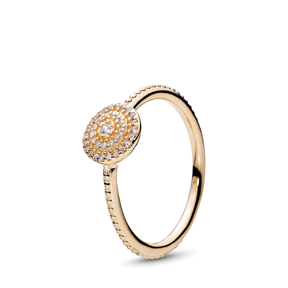 470d90483 Radiant Elegance Ring, 14K Gold & Clear CZ, Yellow Gold 14 k, Cubic