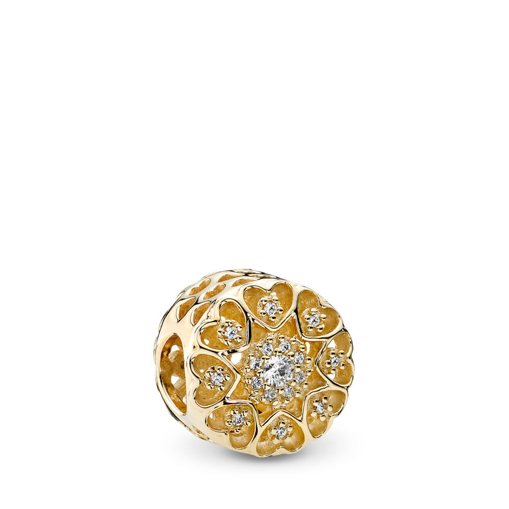 3e2830853 Hearts of Gold Charm, Clear CZ & 14K Gold