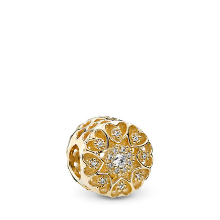 Hearts of Gold Charm, Clear CZ & 14K Gold