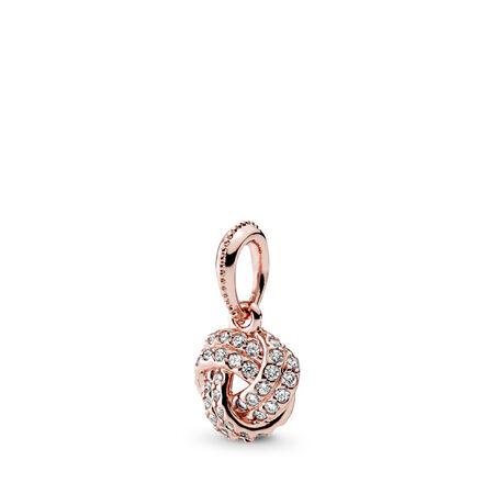 Sparkling Love Knot Pendant, PANDORA Rose™ & Clear CZ, PANDORA Rose, Cubic Zirconia - PANDORA - #380385CZ
