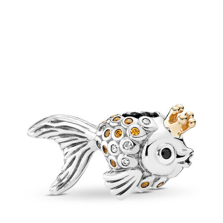 Fairytale Fish Charm, Orange & Gold CZ & Black Crystals