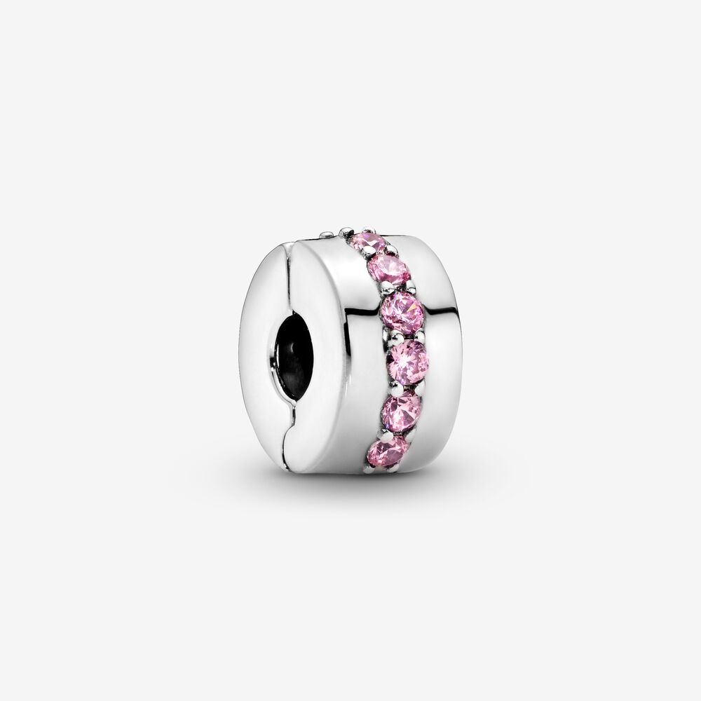 Pink Sparkling Row Clip Charm   Sterling silver   Pandora US