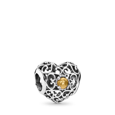 November Signature Heart Charm, Citrine, Sterling silver, Yellow, Citrine - PANDORA - #791784CI