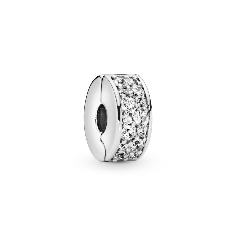5856026ad Clear Pavé Clip Charm, Sterling silver, Silicone, Cubic Zirconia - PANDORA  - #