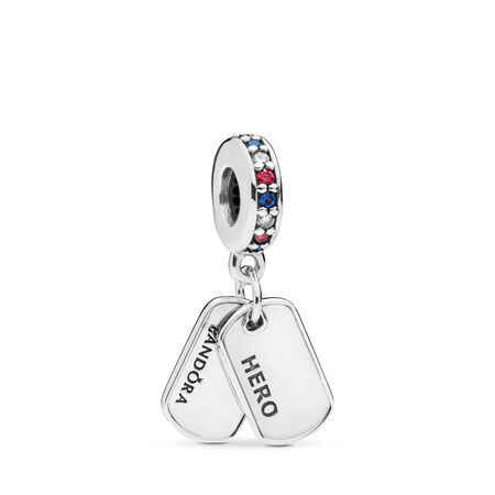 Hero Dog Tag Dangle Charm, Multi-Colored CZ & Blue Crystals