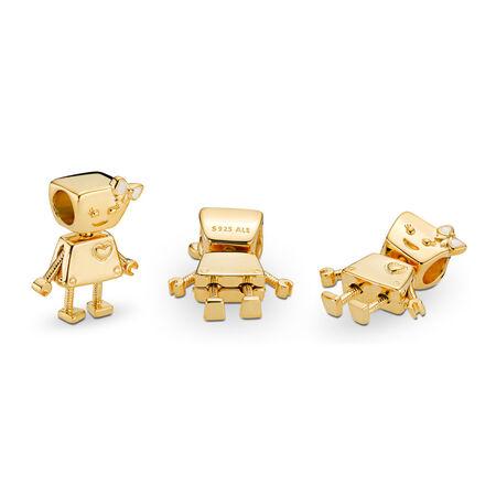 Bella Bot Charm, PANDORA Shine™ & Silver Enamel, 18ct Gold Plated, Enamel, Silver - PANDORA - #767141EN23