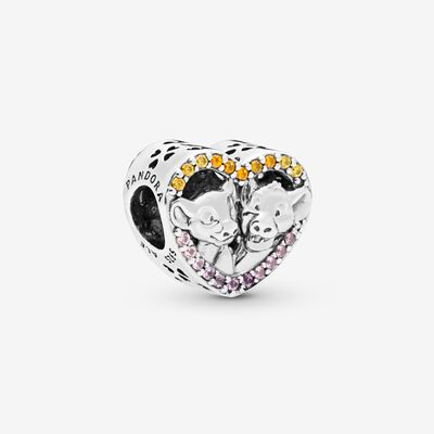 Disney The Lion King Simba and Nala Heart Charm , Silver