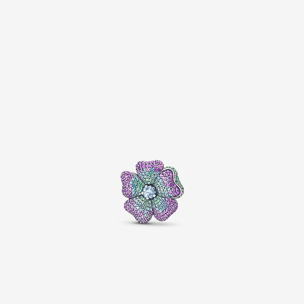 Glorious Bloom Pendant, Multi-Colored CZ