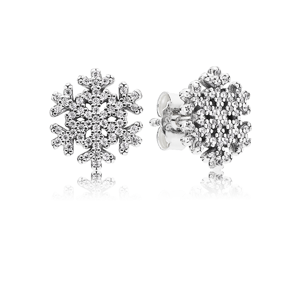 pandora snowflake earrings snowflake stud earrings clear cz pandora jewelry us 5319