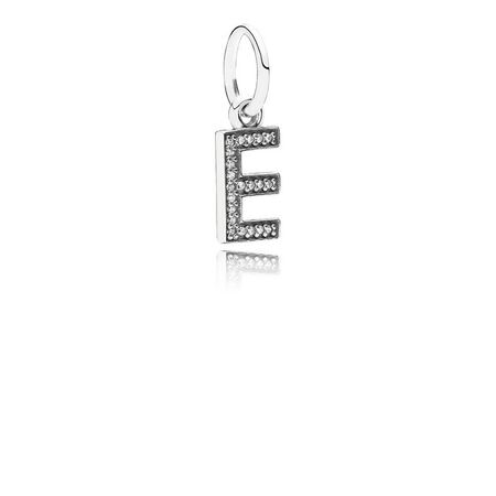 Letter E Dangle Charm, Clear CZ