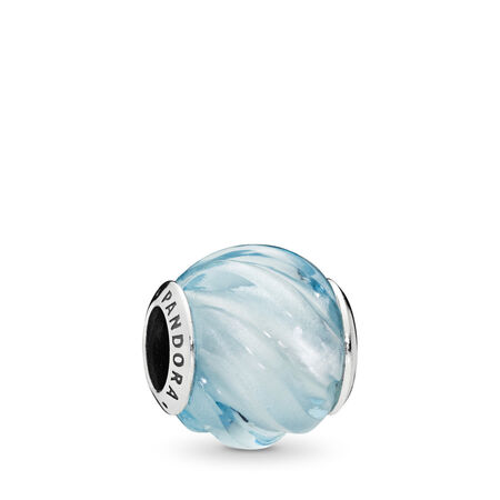 Blue Ripples Charm, Aqua Blue Crystal