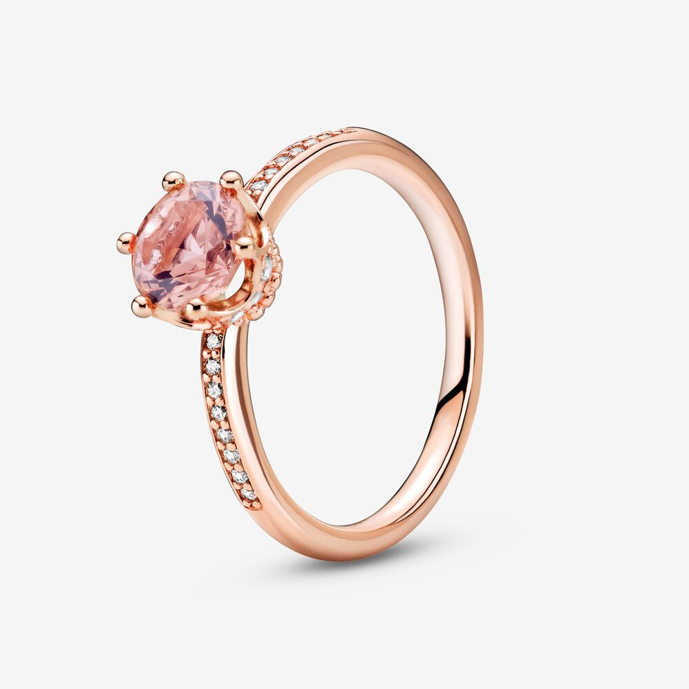 Pink Sparkling Crown Solitaire Ring   Rose gold plated   Pandora US