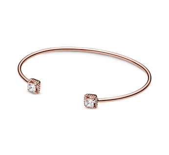 Pandora Rose open bangle with clear cubic zirconia