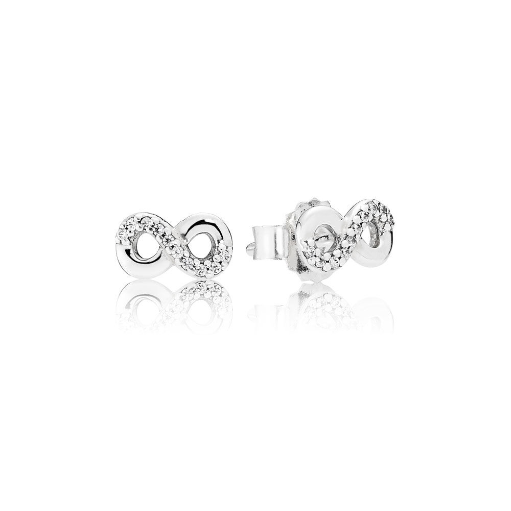 Infinite Love Stud Earrings Clear Cz