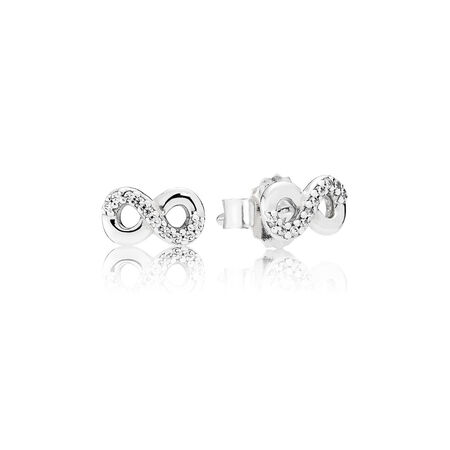 Infinite Love Stud Earrings, Clear CZ