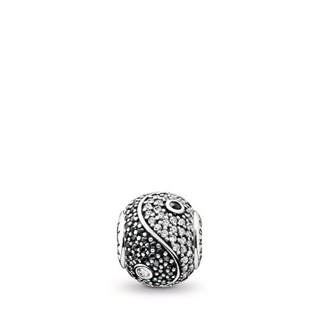 BALANCE Charm, Clear CZ & Black Crystal, Sterling silver, Silicone, Mixed stones - PANDORA - #796053CZ