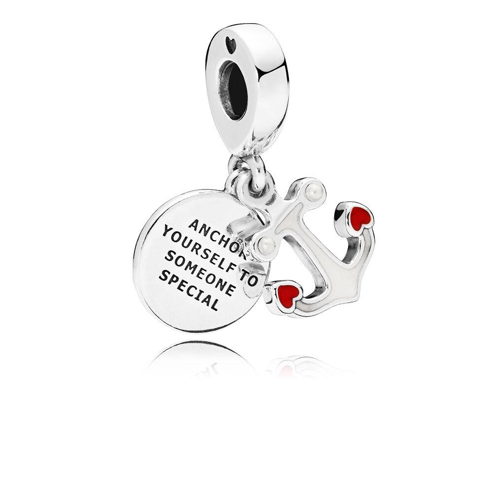 Anchor Of Love Dangle Charm Red Black Enamel Pandora Jewelry Us
