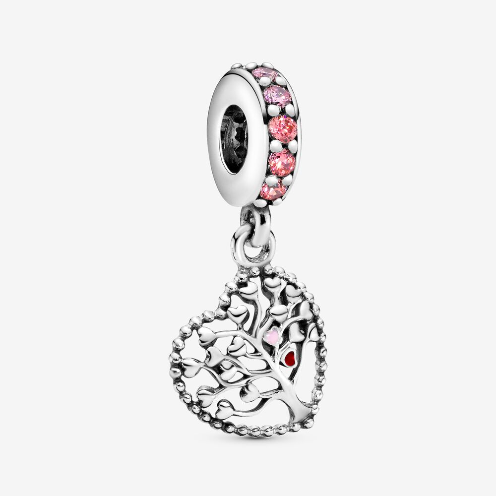 Tree of Love Dangle Charm with Multi-Colored CZ | Sterling silver ...