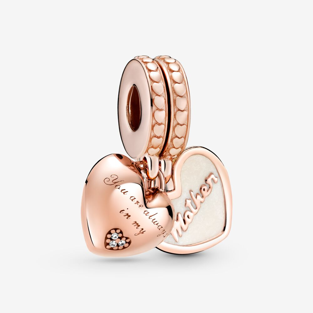 Mother & Daughter Hearts Dangle Charm | Rose gold plated | Pandora US