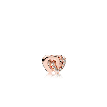 Interlocked Hearts Petite Charm, PANDORA Rose™ & Clear CZ