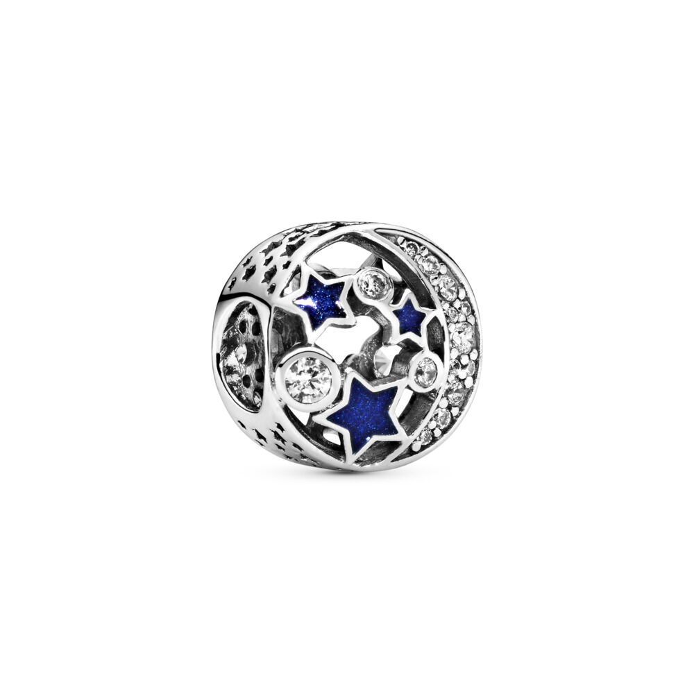 1542e6914b3 Vintage Night Sky Charm, Shimmering Midnight Blue Enamel & Clear CZ,  Sterling silver,