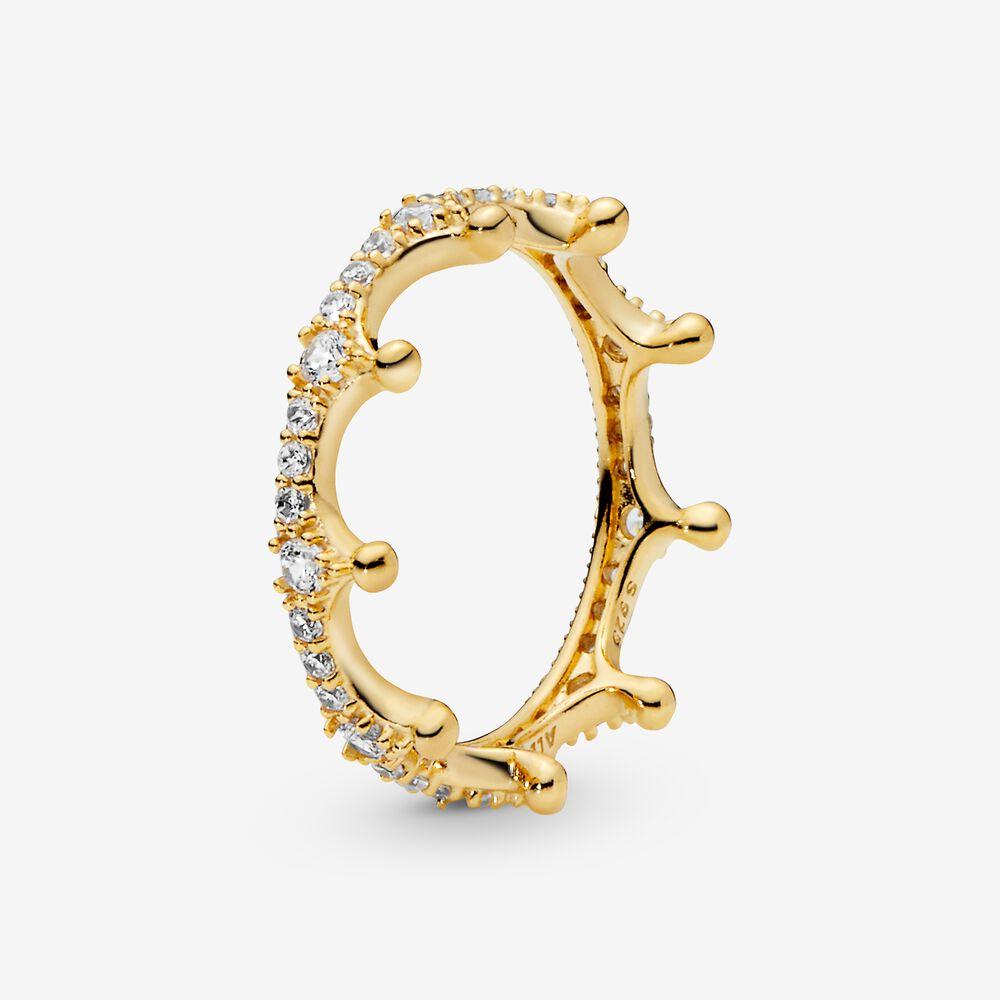 Clear Sparkling Crown Ring Gold Pandora Us
