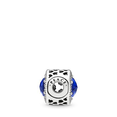 PEACE Charm, Royal Blue Crystals & Clear CZ