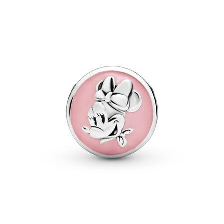 Disney, Vintage Minnie Charm, Bubblegum Pink Enamel & Pink CZ