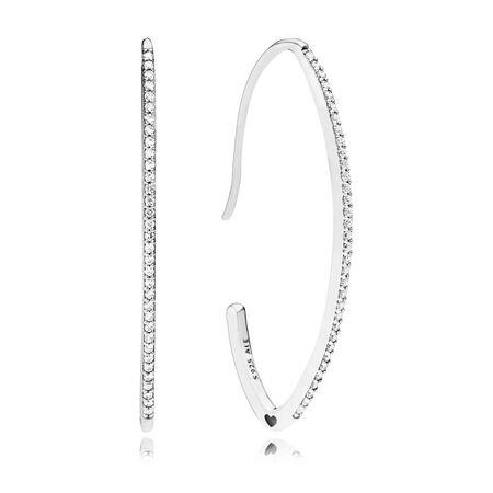 Oval Sparkle Hoop Earrings, Clear CZ