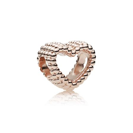 Beaded Heart Charm, PANDORA Rose™
