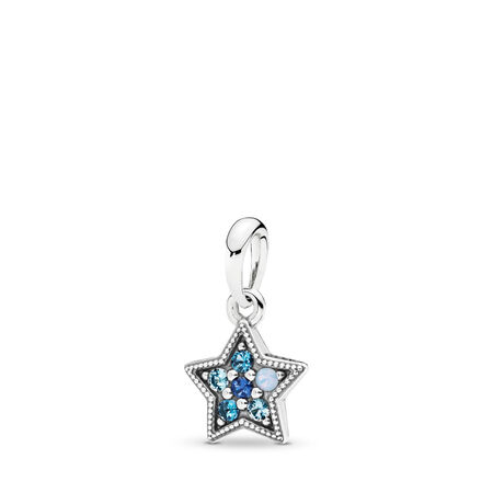 Bright Star Necklace Pendant, Multi-Colored Crystals, Sterling silver, Blue, Crystal - PANDORA - #396376NSBMX