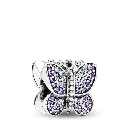 Sparkling Butterfly Charm, Purple CZ