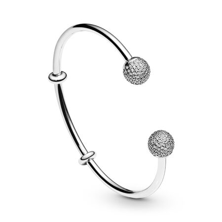 Open Bangle Bracelet, Clear CZ, Sterling silver, Silicone, Cubic Zirconia - PANDORA - #596438CZ