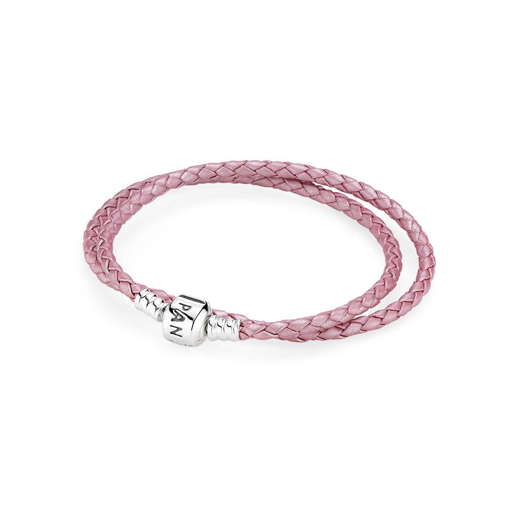66545d7b1 store pandora pink single leather bracelet a3fcd f9067; cheap pink braided  double leather charm bracelet 0d26e 35bea