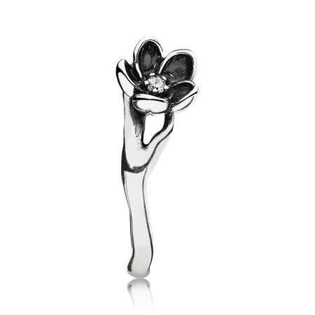 Mystic Floral Ring, CZ & Black Enamel