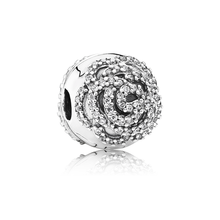 Shimmering Rose Clip, Clear CZ