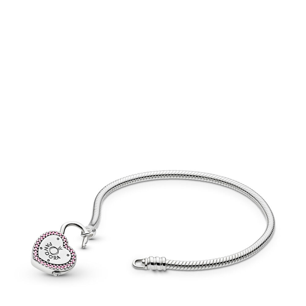 922b54254 Moments Heart Padlock & Snake Chain Bracelet